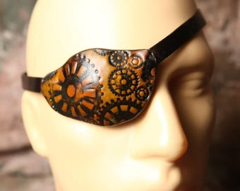steampunk eyepatch  -- Halloween Leather Eye Patch --  Adult Eyepatch -- Costume Eye Patch -- Made in the USA
