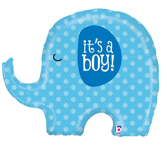 32 ITS A BOY ELEPHANT Holographic Mylar Balloon Baby
