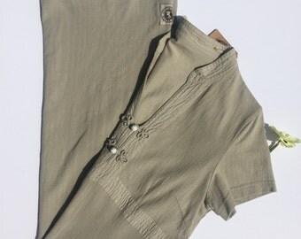 SALE 90s Minimalist Knot Button Cotton Column Dress