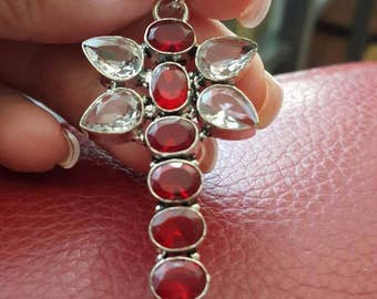 Dragonfly Red and Clear Quartz Pendant!