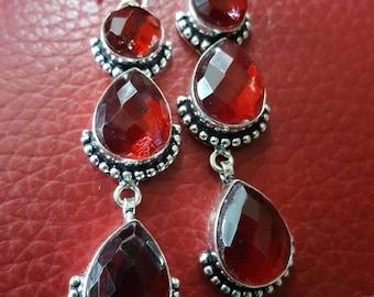 Red Quartz Faceted Earrings!