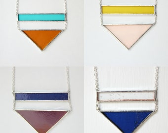 Large Bar & Triangle Stained Glass Necklace