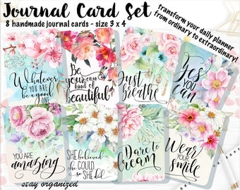 Motivational Quotes Journal Cards Project Life Cards Journaling Cards Scrapbook Cards Journaling Assorted Cards Scrapbooking 3x4 Cards JC002
