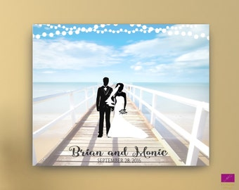 Beach Wedding Guest Book Alternative canvas, Beach Guestbook, Destination wedding guest book, Canvas or Poster, Couple silhouette guest book