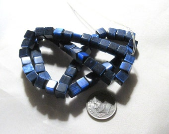 1 Strand 6mm Glass Cat Eye Cube Beads (B102e3)