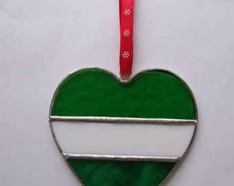 Stained Glass Heart Sun Catcher in Greens and White with Red Ribbon.