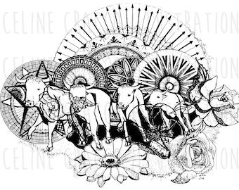 ABRIVADO BULLS (bohemian and original illustration, black ink, folwers, mandala and patterns) print