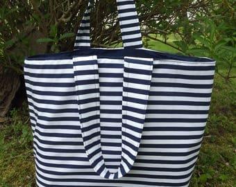 Beach Bag, Tote, Blue Stripe 11 x 12