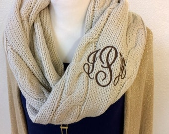 SALE 12.00  Monogram Scarf, BEIGE SCARF  Women's Fall Accessories, Fall Fashion, Scarfs, Winter Apparel, Custom Accessories,