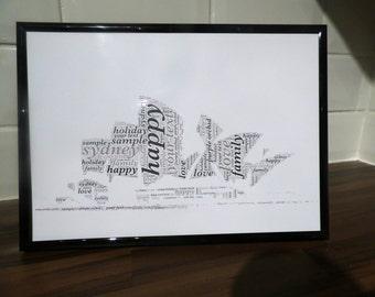 Sidney habour, love word art, landmark print, opera house image,  wall art print, engagement gift, Wedding print, gift for couples, love