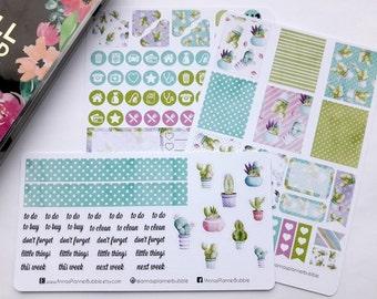 Mini Happy Planner sticker kit, cactus sticker kit, weekly sticker kit, succulent stickers, watercolor stickers, planner stickers, mini HP