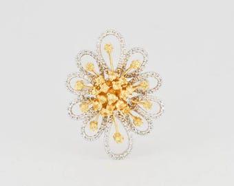 Fancy Flower Yellow Diamond Ring