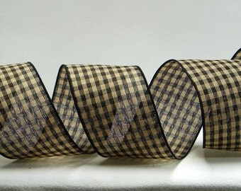 Wired Gingham Ribbon ~ 2.5 inch  Black & Tan Gingham Ribbon ~ Country Craft/Home Decor Ribbon ~ 3 Yards