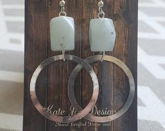 Mint Stone Circle Earrings