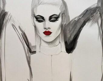 YSL Original Watercolor Fashion Illustration