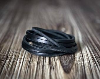Black Chain Leather Bracelet - Women's bracelet - Men's bracelet - Black bracelet - Braid bracelet - Men's gift - Women' gift - Men's style