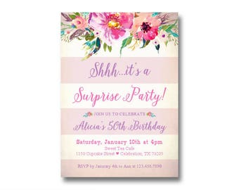 Surprise Birthday Invitations / 50th Surprise Party / Women's 50th Birthday Invitation / Milestone or Any Age / Printed or Printable File
