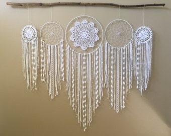 Dreamcatcher Wall Hanging Collection, Set of 5 Dream Catchers, White Dreamcatchers, Bohemian Wedding Backdrop, Boho Decor, Dorm Decor