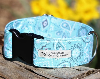 Teal bandanna thick dog collar, wide martingale dog collar, extra wide dog collar, extra large dog collar, martingale collar for dogs