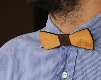 FREE SHIPPING|Bicycle Bow Tie|Wooden Bow Tie|Engraved Bike|Leather|Bow Tie|Oak Wood|