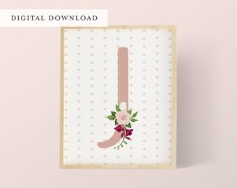 Pink Floral Nursery Initial J | Letter J | Pink Nursery | Initial Art Print | Letter Art Print | Baby Name Art | DIGITAL DOWNLOAD