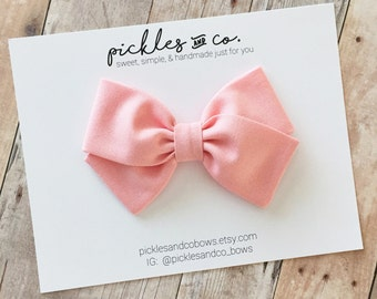 Primrose Pink Fabric Bow - Baby headband - Toddler Bow - Choose nylon headband or adjustable clip