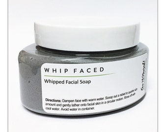 WHIP FACED: Whipped Facial Soap. Daily Face Wash. Charcoal Cleanser. Gentle Exfoliator. Skincare. Beauty Products.
