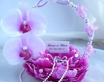 Flower ring pillow orchid flower artificial silk flower for wedding