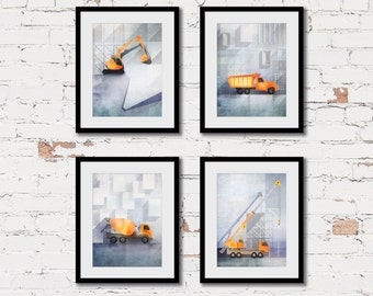 construction print set, modern boys wall art, truck theme art, boys room decor, construction trucks, set of 4 prints, transportation art
