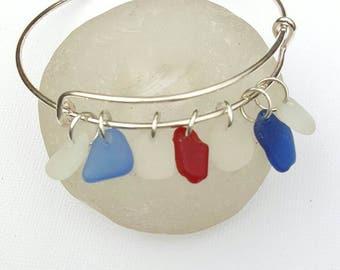 Sea glass Bracelet, Red White and Blues, sea glass jewelry, Beach glass, Sea glass, Beach jewelry, English Rare sea glass, Beach jewelery