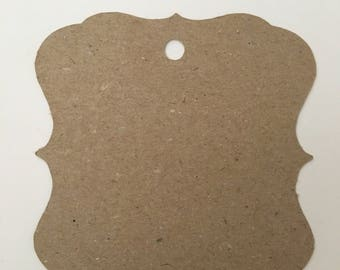 Kraft bracket tags, wedding decor, scrapbooking cutout shapes, card making, crafting supplies, Kraft die cuts, label cards, bracket cards