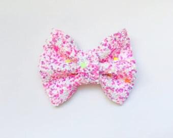 MINI Pink Cupcake Glitter Bow, baby headband, baby hair bows, baby hair clips, headbands, glitter bows, pink bows