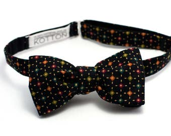 Double sided bow tie black,Black bowtie,Bow tie black polka,Black polka bow tie,Black polka dot,Self tie bow tie,Men's bow tie,dotted bowtie
