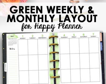 Weekly and Monthly Happy Planner Refills, Editable Weekly Happy Planner Printable, Monthly Planning Printables, Weekly Printables, 9 x 7