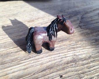 Handmade Polymer Red-roan Horse Figure