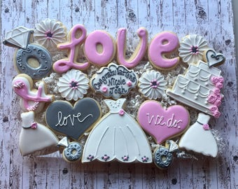 Wedding Sugar Cookies/Engagement Sugar Cookies/ Wedding favors/Decorated SugarCookies / Personalized Wedding Gifts