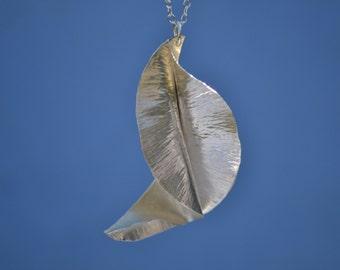 Silver  leaf pendant, Sterling silver pendant, fold formed leaf, statement necklace, gift for her, sterling silver leaf, large leaf pendant
