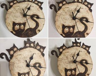 Handmade wooden clock and-ash