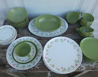 Vintage Set of Rosebud and Green Lenox Ware Rose Melamine Dish Set