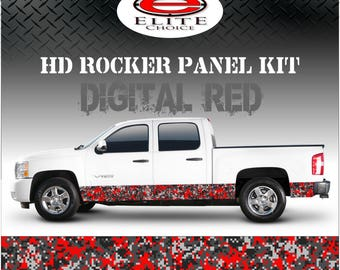 """Digital Red Camo Rocker Panel Graphic Decal Wrap Truck SUV - 12"""" x 24FT"""