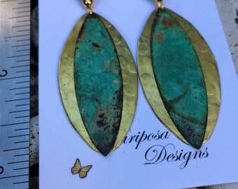 Long dangle earrings, vintage, hammered brass, patina earrings