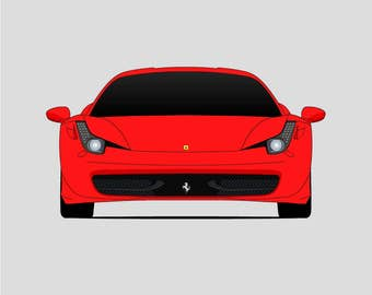 Ferrari 458 Italia Poster // Spider // Speciale // GT2 // GT3 // Ferrari Art // Super Car Poster // Car Poster