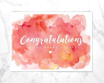 CONGRATULATIONS WEDDING CARD A6 | happy couple | watercolour | heart | pink | instant download