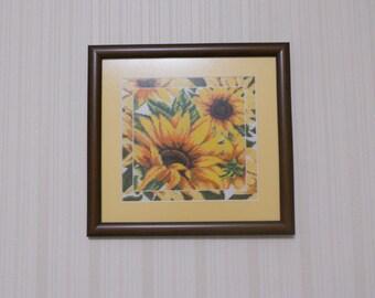 Sunflowers cross stitch picture (Подсолнухи)