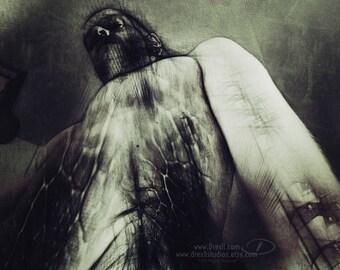 Figurative, Dramatic Dark Art Print. 'BioMechanism' Surreal Abstract Portrait. Gothic style. Horror Art. Male Figure. Macabre Artwork.