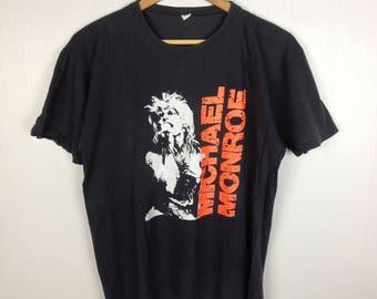 Rare !! Vintage 80s MICHAEL MONROE Not Fakin' It 1989 Promo Tour Concert Black T Shirt Large Size