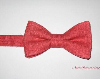 Men's Pre-tied Bow Tie. Pure Silk Bow Tie. Coral Bow Tie For Men.