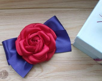Camellia red, red with blue, brooch red, flower handmade, brooch, American day, brooch camellia, Independence Day