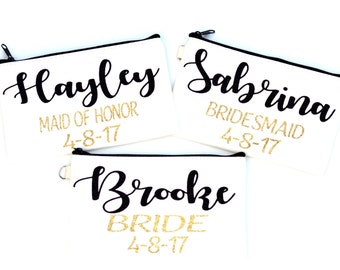 Bridesmaid makeup bags make unique gifts for bridesmaids, maid of honor, and brides - customization available - cream with black zipper
