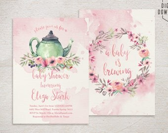 tea party baby shower invitation, tea party invitation, printable baby shower invitation, girl baby shower invite, floral baby shower